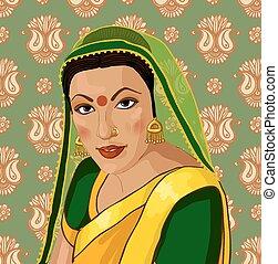 beau, portrait, femme, sari, indien
