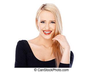 beau, portrait, femme souriante, blonds
