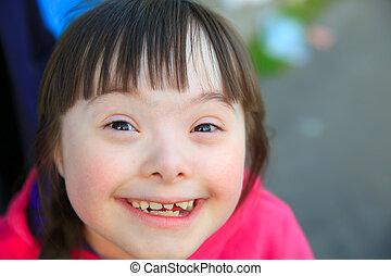 beau, portrait, fille souriant