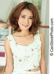beau, portrait, girl, asiatique