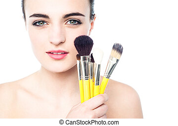beau, portrait, girl, brosses, maquillage