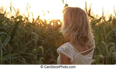 beau, portrait, girl, coucher soleil, sourire