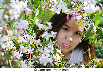 beau, portrait, girl, fleurs