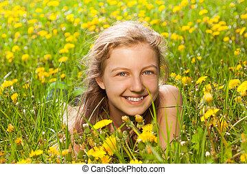 beau, portrait, girl, herbe, vert