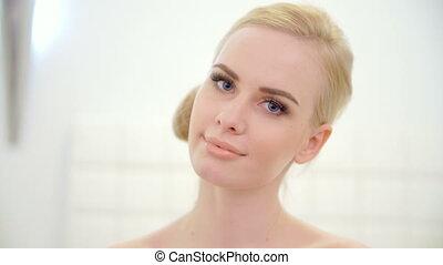 beau, portrait, girl, jeune, blonds