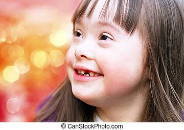 beau, portrait, girl, jeune, heureux