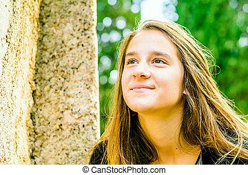 beau, portrait, girl, parc, jeune