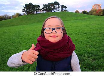 beau, portrait, girl, parc, lunettes