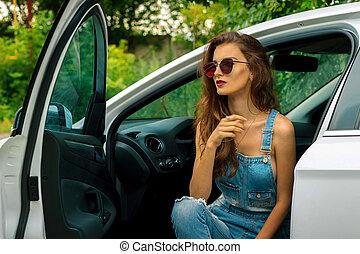 beau, portrait, girl, voiture