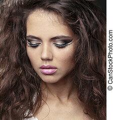 beau, portrait, modèle, femme, maquillage