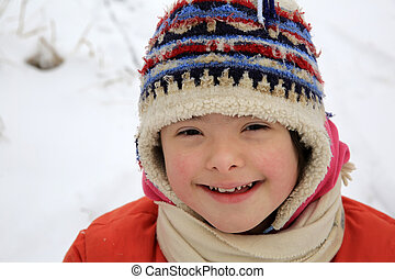 beau, portrait, peu, hiver, girl