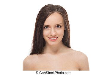 beau, portrait, sourire, brunette, girl