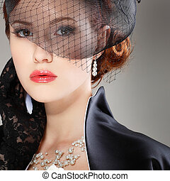 beau, portrait, style, retro, girl