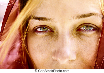 beau, portrait, yeux, femme, closeup
