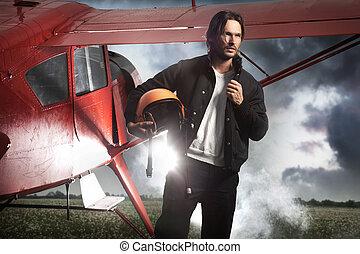 beau, position homme, devant, avion