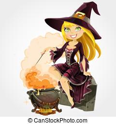 beau, potion, sorcière, chaudière
