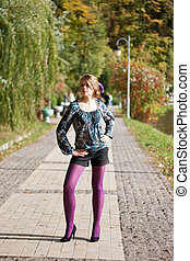 beau, pourpre, automne, girl, collants