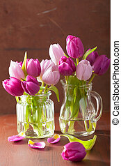beau, pourpre, bouquet, vase, tulipe, fleurs