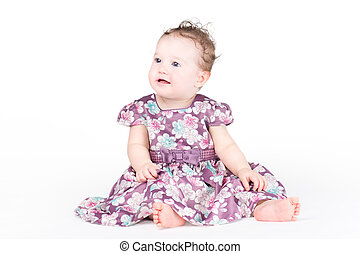 beau, pourpre, girl, robe, bébé