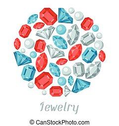 beau, précieux, stones., bijouterie, fond