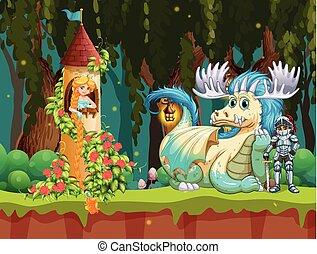 beau, princesse, château, scène, forêt