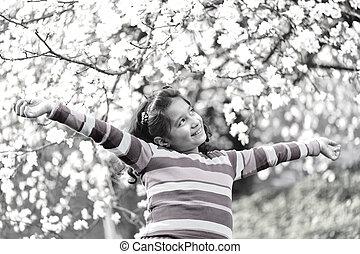 beau, printemps, écolière, portrait