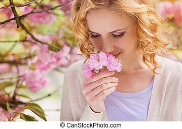 beau, printemps, femme, jardin