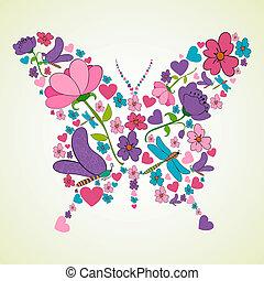 beau, printemps, forme, fleurs, papillon