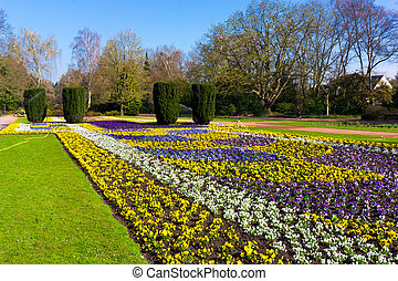 beau, printemps, jardin, paysage.