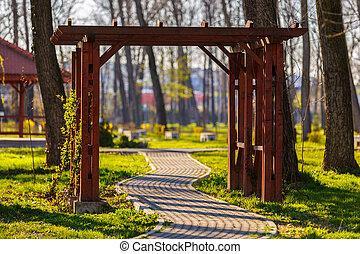 beau, printemps, parc, jour, ruelle