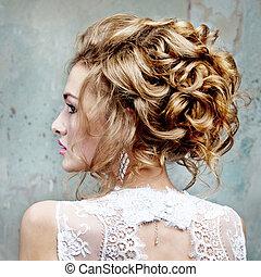 beau, profil, cheveux, girl