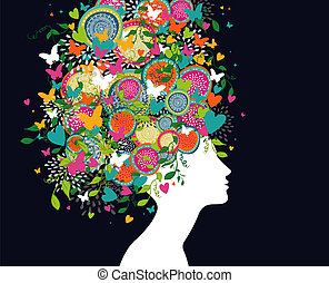 beau, profil, femme, coloré, résumé, cheveux, conception