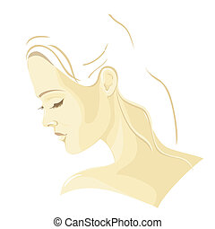 beau, profil, girl