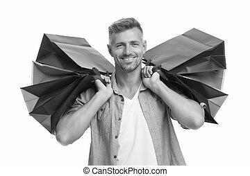 beau, purchase., paquets, présente., dons, bags., mâle, ton, avide, shopping., acheteur, isolé, shopaholic., lourd, homme, heureux, après, achat, achats, soin, blanc, remerciement, happiness.