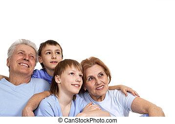 beau, quatre, famille caucasienne