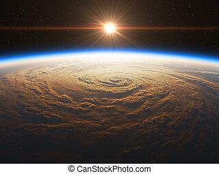 beau, réaliste, sur, levers de soleil, la terre