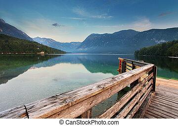 beau, réflexion., lac, slovénie, lac, bohinj., vue., ...