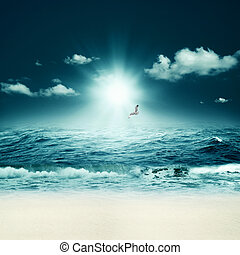beau, résumé, arrière-plans, conception, sea., marin, ton