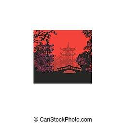 beau, résumé, asiatique, paysage