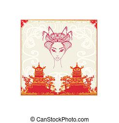 beau, résumé, asiatique, paysage, geisha