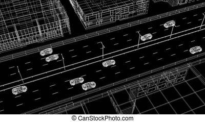 beau, résumé, technologie, 3840x2160., ville, conduite, concept., 3d, environnement, arrière-plan., animation, noir, transport, route numérique, blueprint., bâtiments, voitures, hd, animé, 4k, ultra, futuriste