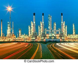 beau, raffinerie, plante, huile, heav, éclairage, petrochemicaly