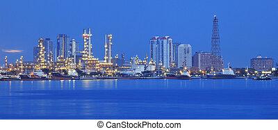 beau, raffinerie, plante, industriel, panorama, industrie, corperated, usage, comunity, scène, environnement, propre