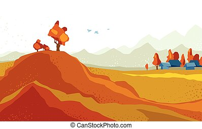 beau, randonnée, illustration, montagnes, concept., collines, vecteur, saison, nature, scénique, automne, prés, campagne, prairies, voyage, voyager, paysage, automne
