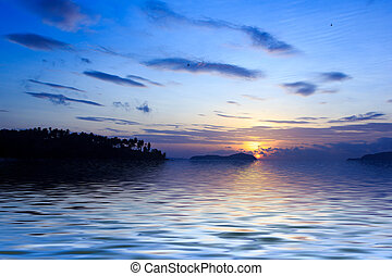 beau, rawai, levers de soleil, phuket