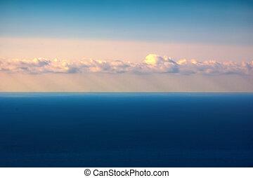 beau, rayons, nuages, soleil, ciel, par