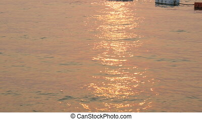 beau, rayons, soleil, surface, coucher soleil, sea., mer, rouges