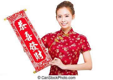 beau, reel., félicitation, femme, asiatique, tenue
