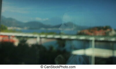 beau, reflet, budva, fenêtre, mariée, surprenant, montenegro, vue