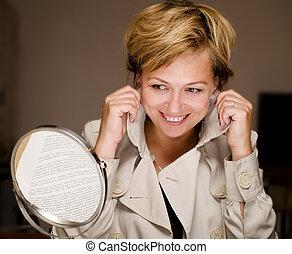 beau, regarder, femme, blonds, miroir